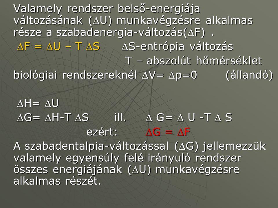 Valamely rendszer belső-energiája változásának (U) munkavégzésre alkalmas része a szabadenergia-változás(F). F = U – T S S-entrópia változás F