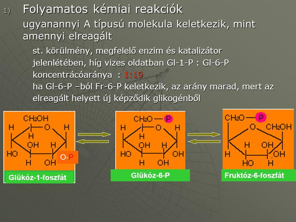 1) Folyamatos kémiai reakciók ugyanannyi A típusú molekula keletkezik, mint amennyi elreagált st. körülmény, megfelelő enzim és katalizátor jelenlétéb