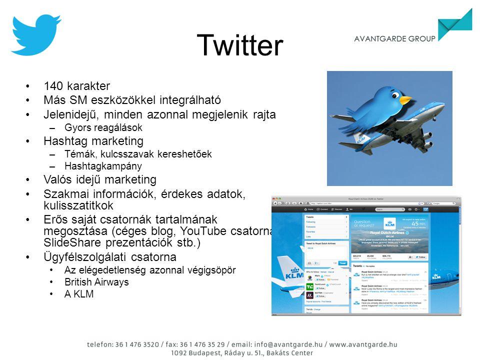Twitter 140 karakter Más SM eszközökkel integrálható Jelenidejű, minden azonnal megjelenik rajta –Gyors reagálások Hashtag marketing –Témák, kulcsszav