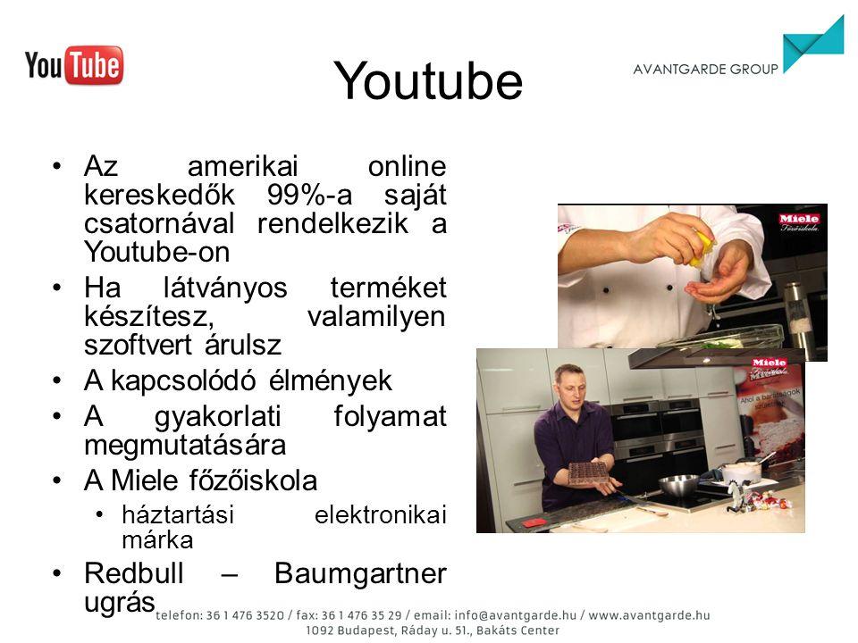 Youtube Az amerikai online kereskedők 99%-a saját csatornával rendelkezik a Youtube-on Ha látványos terméket készítesz, valamilyen szoftvert árulsz A kapcsolódó élmények A gyakorlati folyamat megmutatására A Miele főzőiskola háztartási elektronikai márka Redbull – Baumgartner ugrás