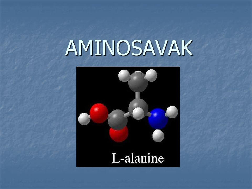 a fehérjéket  -aminosavak építik fel, az aminocsoport a karboxilcsoport melletti szénatomhoz kapcsolódik a fehérjéket  -aminosavak építik fel, az aminocsoport a karboxilcsoport melletti szénatomhoz kapcsolódik az aminosavak az R-oldallánc szerkezetében különböznek egymástól az aminosavak az R-oldallánc szerkezetében különböznek egymástól AMINOCSOPORT KARBOXILCSOPORT  -szénatom oldallánc