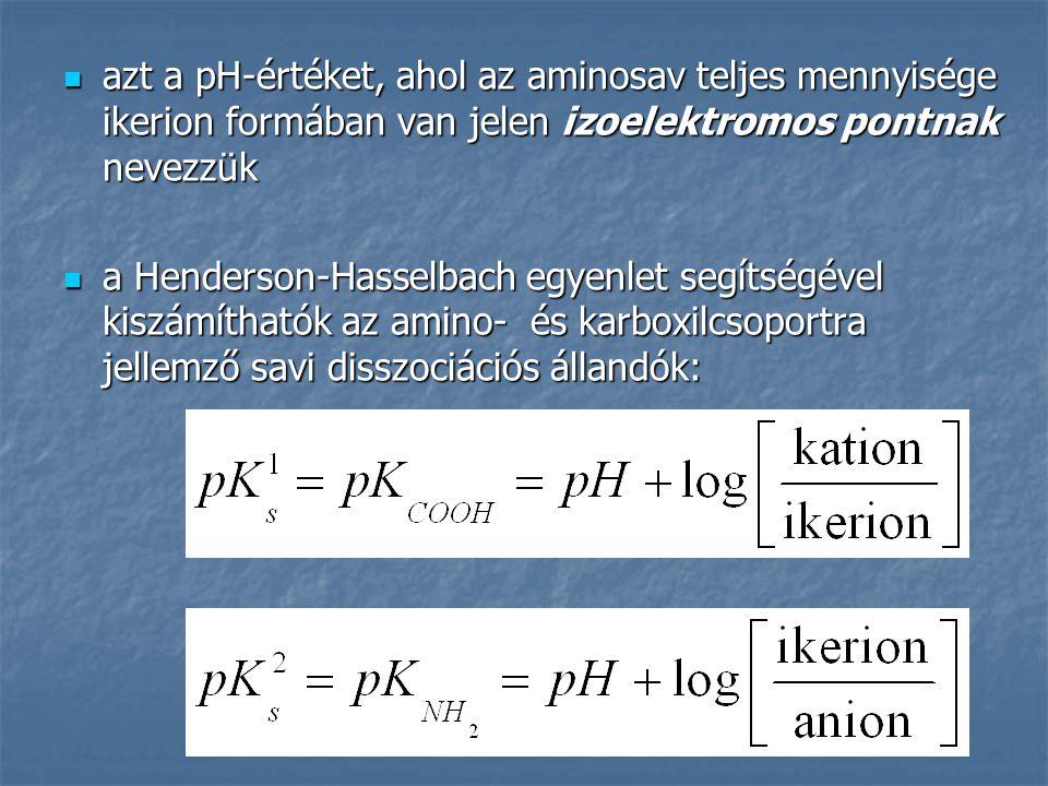 azt a pH-értéket, ahol az aminosav teljes mennyisége ikerion formában van jelen izoelektromos pontnak nevezzük azt a pH-értéket, ahol az aminosav telj