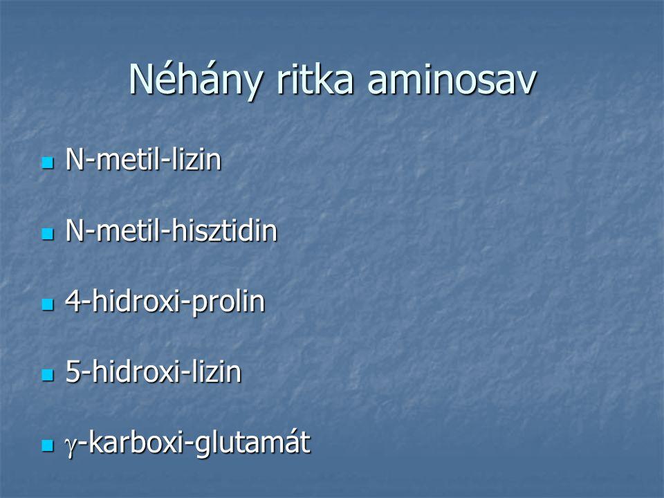 Néhány ritka aminosav N-metil-lizin N-metil-lizin N-metil-hisztidin N-metil-hisztidin 4-hidroxi-prolin 4-hidroxi-prolin 5-hidroxi-lizin 5-hidroxi-lizi