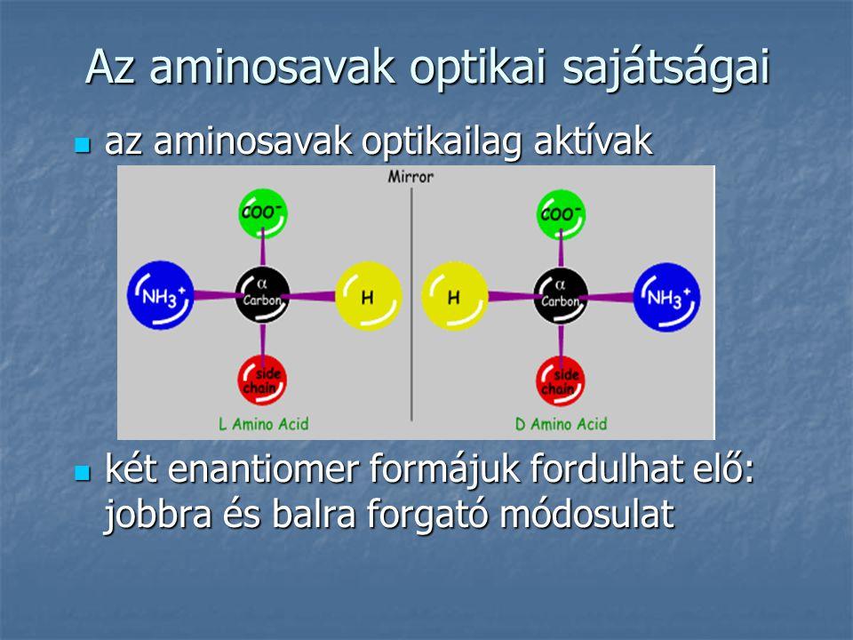 az aminosavak optikailag aktívak az aminosavak optikailag aktívak két enantiomer formájuk fordulhat elő: jobbra és balra forgató módosulat két enantio