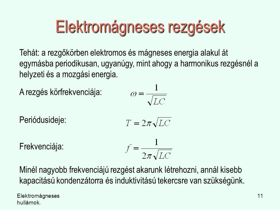 Elektromágneses hullámok. 11 Elektromágneses rezgések Tehát: a rezgőkörben elektromos és mágneses energia alakul át egymásba periodikusan, ugyanúgy, m