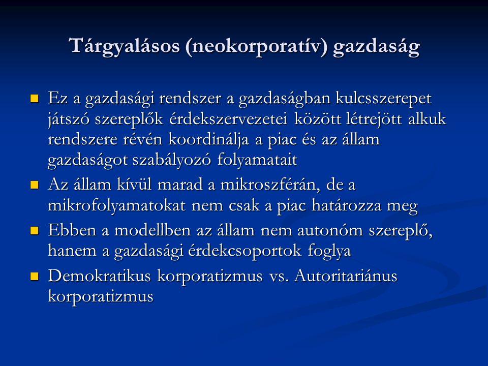 Tárgyalásos (neokorporatív) gazdaság Ez a gazdasági rendszer a gazdaságban kulcsszerepet játszó szereplők érdekszervezetei között létrejött alkuk rend