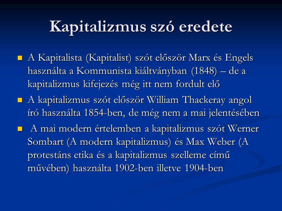 Kapitalizmus szó eredete A Kapitalista (Kapitalist) szót először Marx és Engels használta a Kommunista kiáltványban (1848) – de a kapitalizmus kifejezés még itt nem fordult elő A Kapitalista (Kapitalist) szót először Marx és Engels használta a Kommunista kiáltványban (1848) – de a kapitalizmus kifejezés még itt nem fordult elő A kapitalizmus szót először William Thackeray angol író használta 1854-ben, de még nem a mai jelentésében A kapitalizmus szót először William Thackeray angol író használta 1854-ben, de még nem a mai jelentésében A mai modern értelemben a kapitalizmus szót Werner Sombart (A modern kapitalizmus) és Max Weber (A protestáns etika és a kapitalizmus szelleme című művében) használta 1902-ben illetve 1904-ben A mai modern értelemben a kapitalizmus szót Werner Sombart (A modern kapitalizmus) és Max Weber (A protestáns etika és a kapitalizmus szelleme című művében) használta 1902-ben illetve 1904-ben