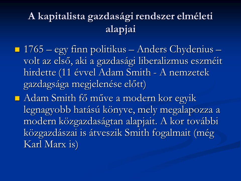 A kapitalista gazdasági rendszer elméleti alapjai 1765 – egy finn politikus – Anders Chydenius – volt az első, aki a gazdasági liberalizmus eszméit hirdette (11 évvel Adam Smith - A nemzetek gazdagsága megjelenése előtt) 1765 – egy finn politikus – Anders Chydenius – volt az első, aki a gazdasági liberalizmus eszméit hirdette (11 évvel Adam Smith - A nemzetek gazdagsága megjelenése előtt) Adam Smith fő műve a modern kor egyik legnagyobb hatású könyve, mely megalapozza a modern közgazdaságtan alapjait.