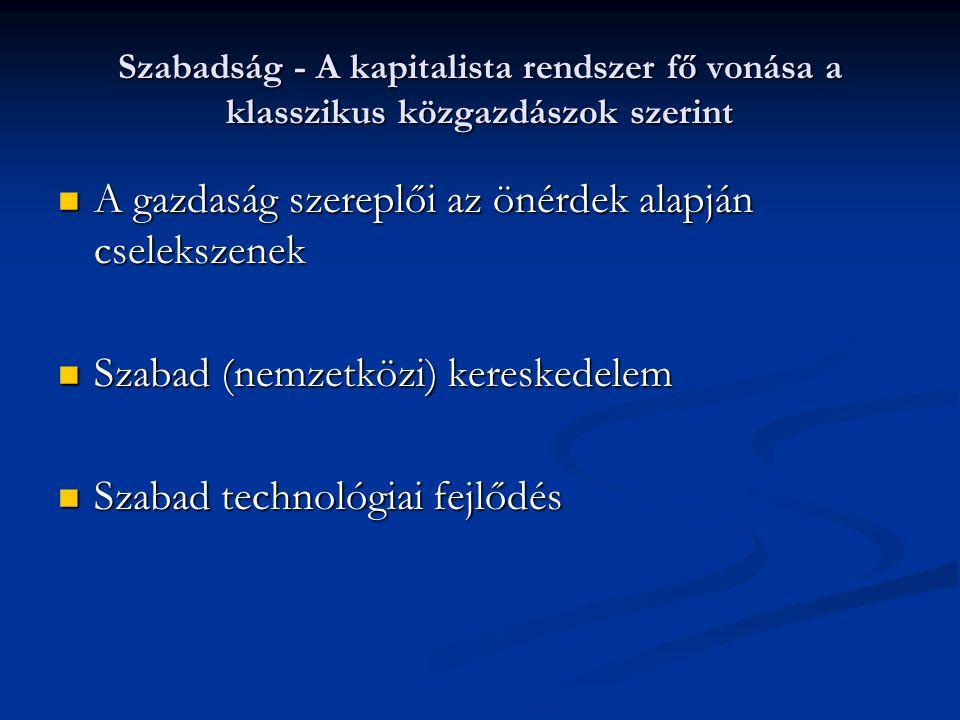 Szabadság - A kapitalista rendszer fő vonása a klasszikus közgazdászok szerint A gazdaság szereplői az önérdek alapján cselekszenek A gazdaság szereplői az önérdek alapján cselekszenek Szabad (nemzetközi) kereskedelem Szabad (nemzetközi) kereskedelem Szabad technológiai fejlődés Szabad technológiai fejlődés