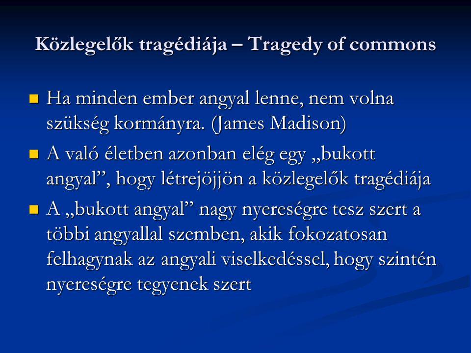 Közlegelők tragédiája – Tragedy of commons Ha minden ember angyal lenne, nem volna szükség kormányra.