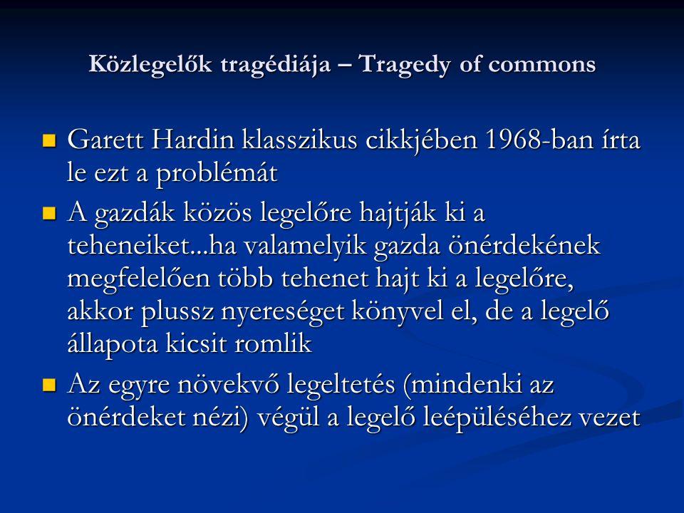 Közlegelők tragédiája – Tragedy of commons Garett Hardin klasszikus cikkjében 1968-ban írta le ezt a problémát Garett Hardin klasszikus cikkjében 1968-ban írta le ezt a problémát A gazdák közös legelőre hajtják ki a teheneiket...ha valamelyik gazda önérdekének megfelelően több tehenet hajt ki a legelőre, akkor plussz nyereséget könyvel el, de a legelő állapota kicsit romlik A gazdák közös legelőre hajtják ki a teheneiket...ha valamelyik gazda önérdekének megfelelően több tehenet hajt ki a legelőre, akkor plussz nyereséget könyvel el, de a legelő állapota kicsit romlik Az egyre növekvő legeltetés (mindenki az önérdeket nézi) végül a legelő leépüléséhez vezet Az egyre növekvő legeltetés (mindenki az önérdeket nézi) végül a legelő leépüléséhez vezet