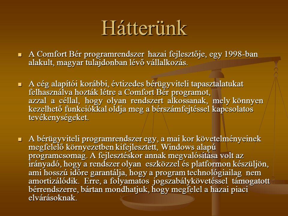 Hátterünk A Comfort Bér programrendszer hazai fejlesztője, egy 1998-ban alakult, magyar tulajdonban lévő vállalkozás.
