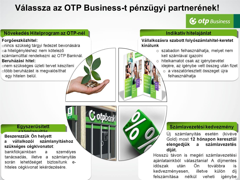 Egyszerűsített számlanyitás Válassza az OTP Business-t pénzügyi partnerének! 9 Növekedés Hitelprogram az OTP-nél Indikatív hitelajánlat Számlavezetési