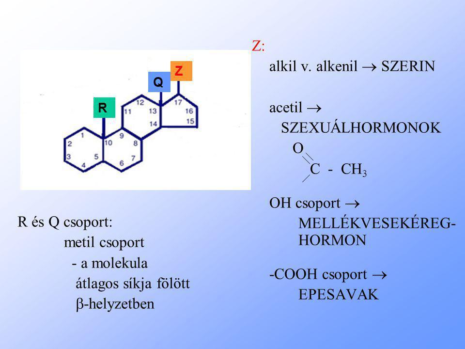 Z: alkil v. alkenil  SZERIN acetil  SZEXUÁLHORMONOK O C - CH 3 OH csoport  MELLÉKVESEKÉREG- HORMON -COOH csoport  EPESAVAK R és Q csoport: metil c
