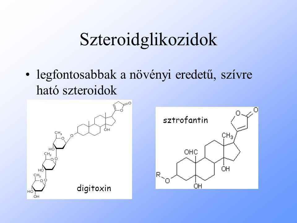 Szteroidglikozidok legfontosabbak a növényi eredetű, szívre ható szteroidok digitoxin sztrofantin