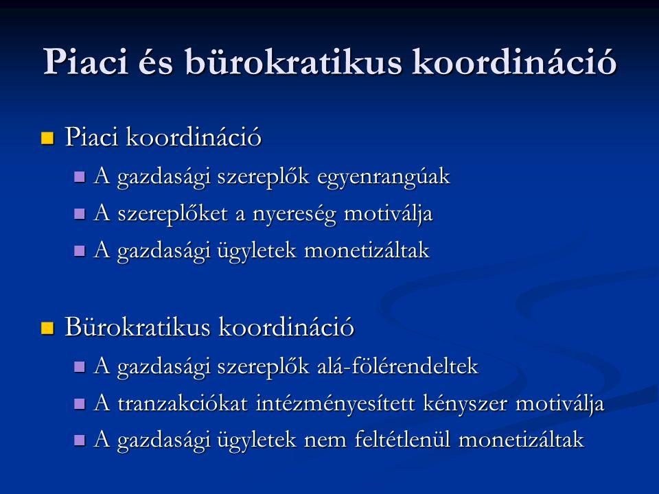 Piaci és bürokratikus koordináció Piaci koordináció Piaci koordináció A gazdasági szereplők egyenrangúak A gazdasági szereplők egyenrangúak A szereplő