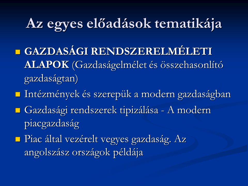 Az egyes előadások tematikája GAZDASÁGI RENDSZERELMÉLETI ALAPOK (Gazdaságelmélet és összehasonlító gazdaságtan) GAZDASÁGI RENDSZERELMÉLETI ALAPOK (Gaz