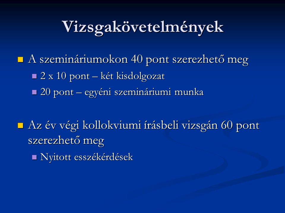 Vizsgakövetelmények A szemináriumokon 40 pont szerezhető meg A szemináriumokon 40 pont szerezhető meg 2 x 10 pont – két kisdolgozat 2 x 10 pont – két