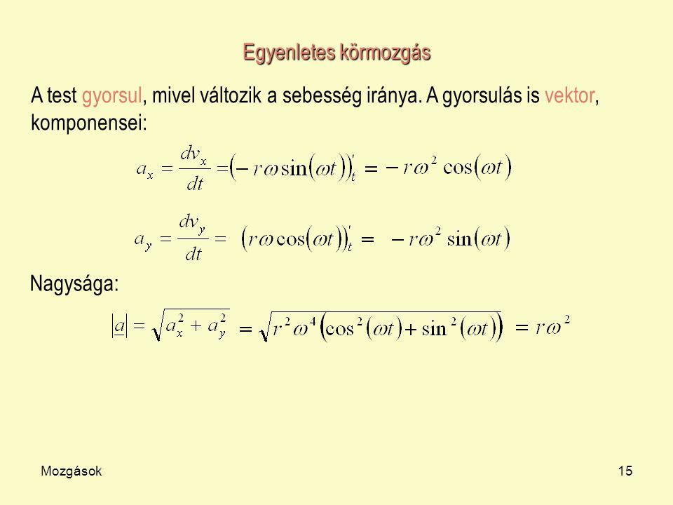 Mozgások15 Egyenletes körmozgás A test gyorsul, mivel változik a sebesség iránya. A gyorsulás is vektor, komponensei: Nagysága: