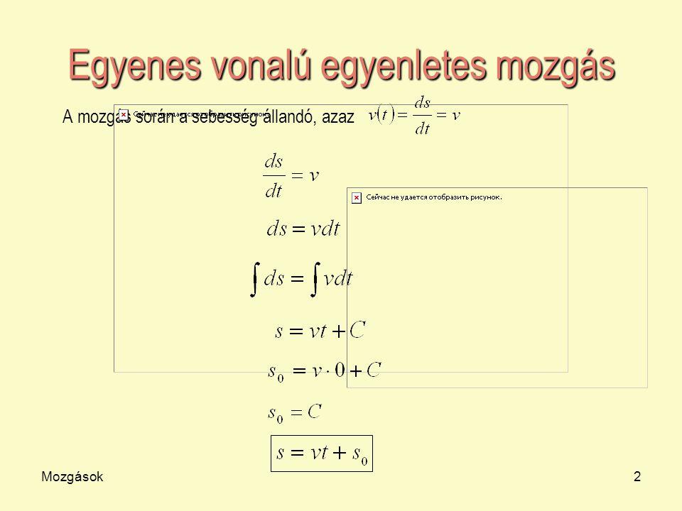 Mozgások2 Egyenes vonalú egyenletes mozgás A mozgás során a sebesség állandó, azaz