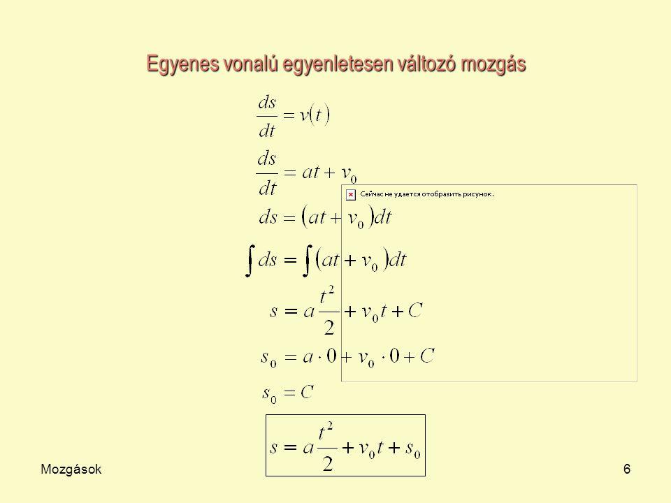 Mozgások7 t v v0v0v0v0 Egyenes vonalú egyenletesen változó mozgás A sebesség-idő függvény, ha van kezdősebesség.