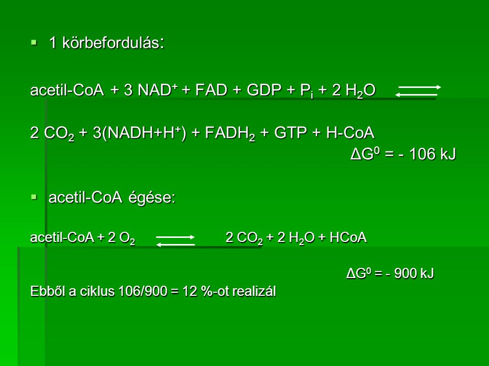 1 körbefordulás : acetil-CoA + 3 NAD + + FAD + GDP + P i + 2 H 2 O 2 CO 2 + 3(NADH+H + ) + FADH 2 + GTP + H-CoA ΔG 0 = - 106 kJ ΔG 0 = - 106 kJ  ac