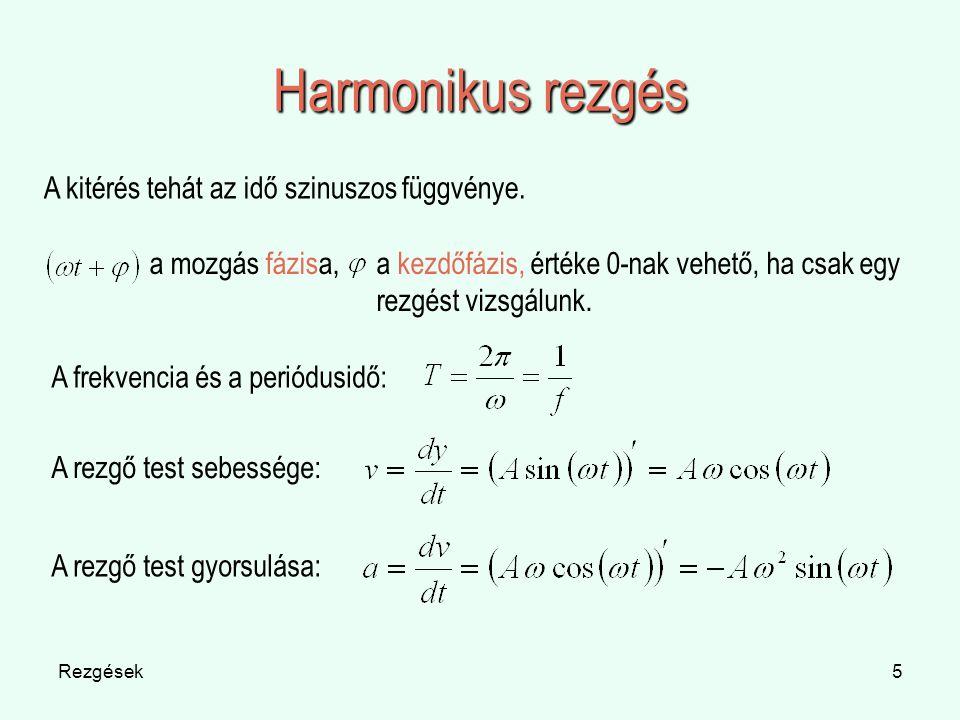 Rezgések5 Harmonikus rezgés A kitérés tehát az idő szinuszos függvénye. a mozgás fázisa, A frekvencia és a periódusidő: a kezdőfázis, értéke 0-nak veh