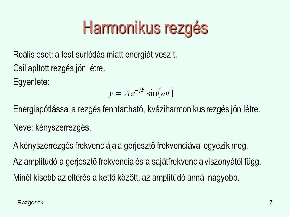 Rezgések7 Harmonikus rezgés Reális eset: a test súrlódás miatt energiát veszít. Csillapított rezgés jön létre. Egyenlete: Energiapótlással a rezgés fe