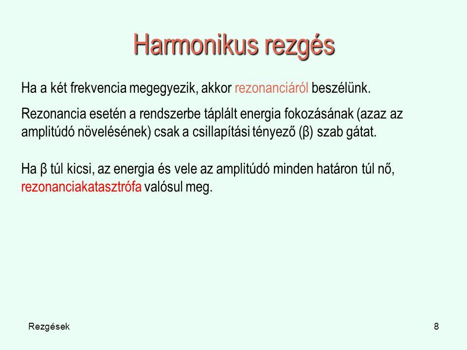 Rezgések8 Harmonikus rezgés Ha a két frekvencia megegyezik, akkor rezonanciáról beszélünk. Rezonancia esetén a rendszerbe táplált energia fokozásának