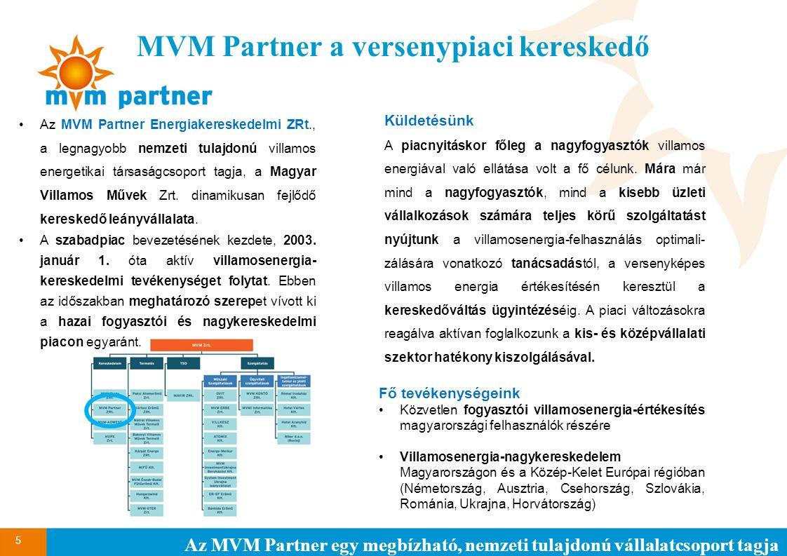 MVM Partner a versenypiaci kereskedő 5 Az MVM Partner egy megbízható, nemzeti tulajdonú vállalatcsoport tagja Az MVM Partner Energiakereskedelmi ZRt.,