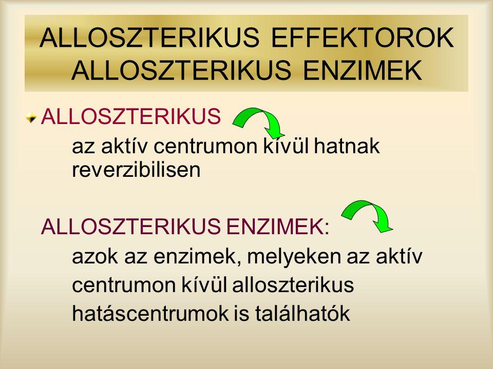 ALLOSZTERIKUS EFFEKTOROK ALLOSZTERIKUS ENZIMEK ALLOSZTERIKUS az aktív centrumon kívül hatnak reverzibilisen ALLOSZTERIKUS ENZIMEK: azok az enzimek, me