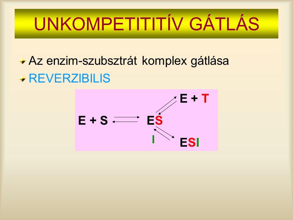 UNKOMPETITITÍV GÁTLÁS Az enzim-szubsztrát komplex gátlása REVERZIBILIS E + T E + S ES ESI I