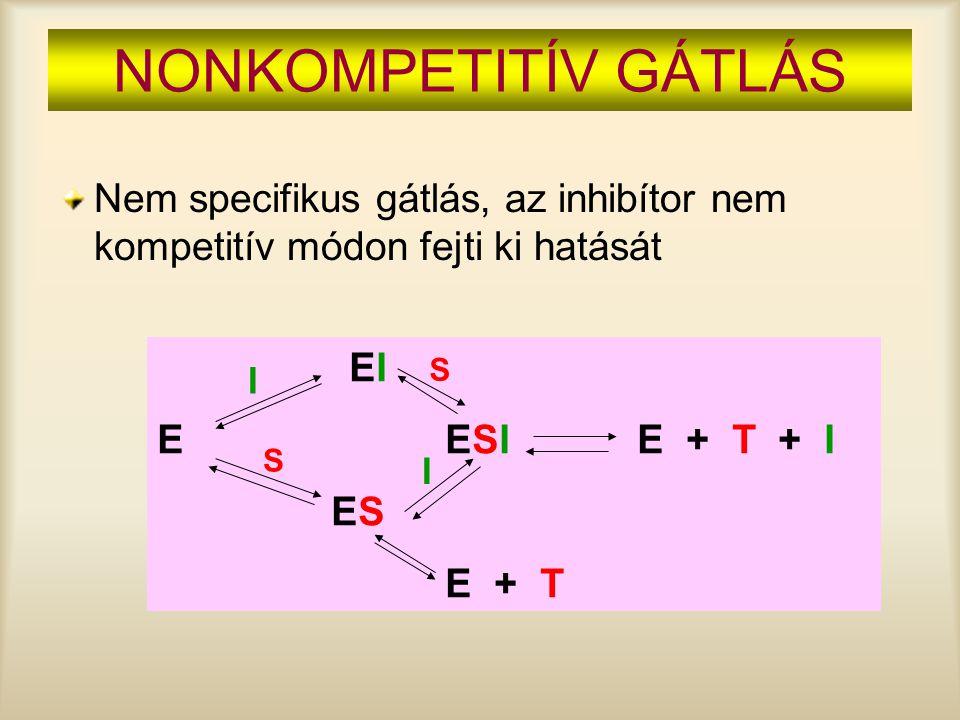 NONKOMPETITÍV GÁTLÁS Nem specifikus gátlás, az inhibítor nem kompetitív módon fejti ki hatását EI EESIE + T + I ES E + T I I S S