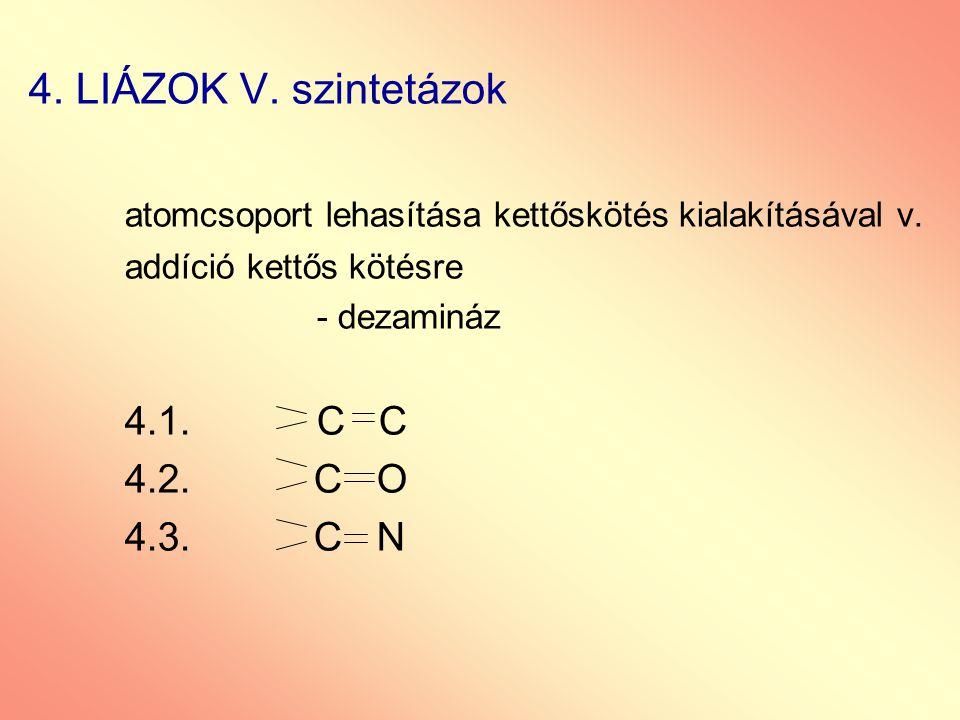 4. LIÁZOK V. szintetázok atomcsoport lehasítása kettőskötés kialakításával v. addíció kettős kötésre - dezamináz 4.1.C C 4.2. C O 4.3. C N