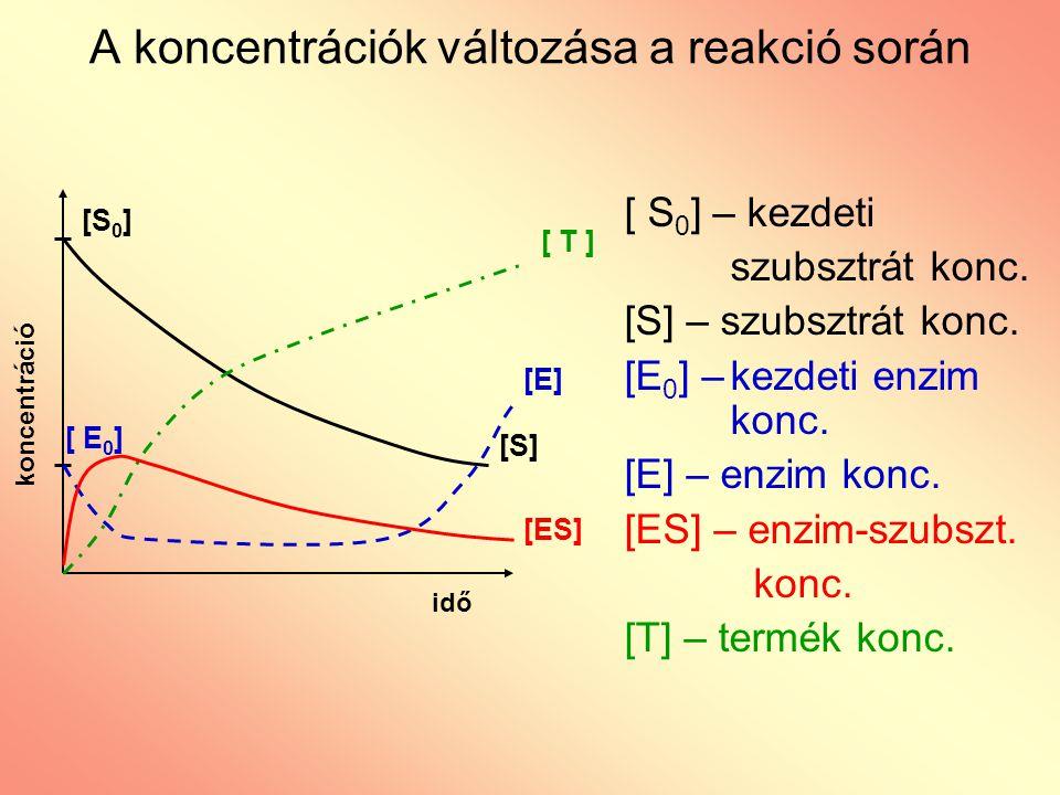 A koncentrációk változása a reakció során koncentráció idő [S 0 ] [S] [ T ] [ E 0 ] [E] [ES] [ S 0 ] – kezdeti szubsztrát konc. [S] – szubsztrát konc.