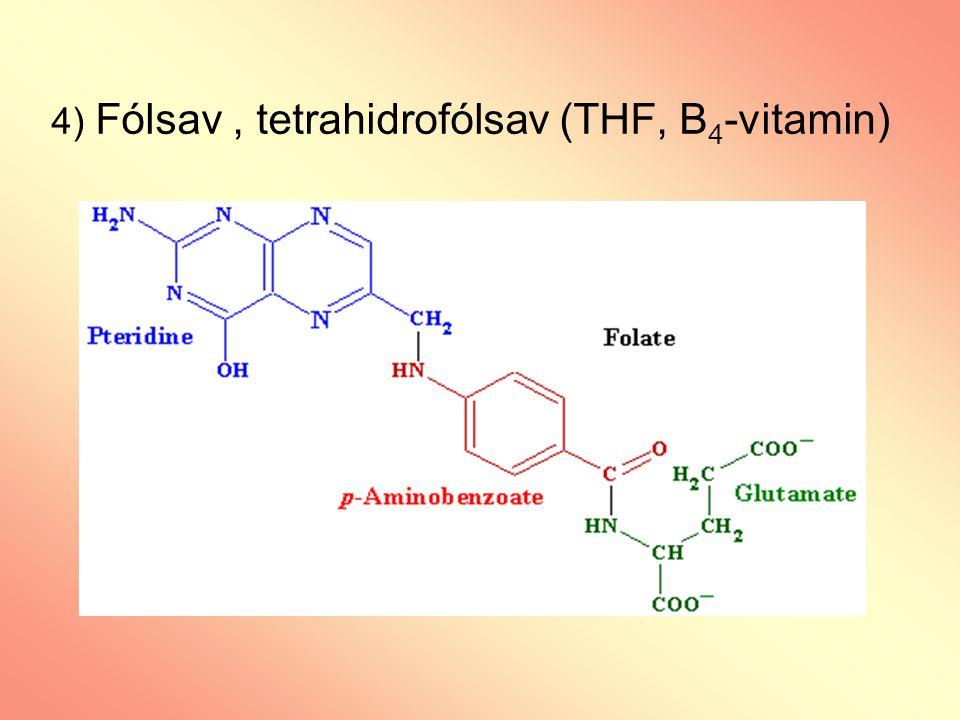 4) Fólsav, tetrahidrofólsav (THF, B 4 -vitamin)