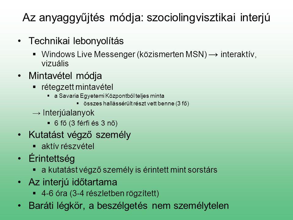 Az anyaggyűjtés módja: szociolingvisztikai interjú Technikai lebonyolítás  Windows Live Messenger (közismerten MSN) → interaktív, vizuális Mintavétel