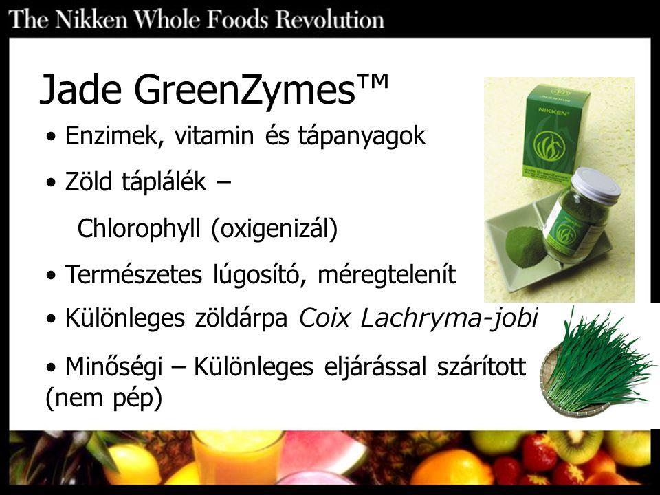Enzimek, vitamin és tápanyagok Zöld táplálék – Chlorophyll (oxigenizál) Természetes lúgosító, méregtelenít Különleges zöldárpa Coix Lachryma-jobi Minő