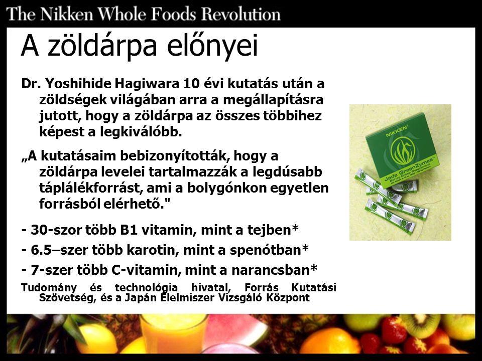 A zöldárpa előnyei Dr. Yoshihide Hagiwara 10 évi kutatás után a zöldségek világában arra a megállapításra jutott, hogy a zöldárpa az összes többihez k