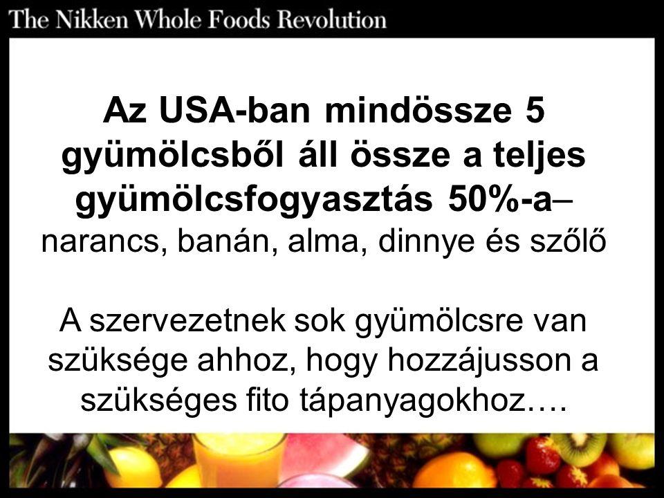 Az USA-ban mindössze 5 gyümölcsből áll össze a teljes gyümölcsfogyasztás 50%-a– narancs, banán, alma, dinnye és szőlő A szervezetnek sok gyümölcsre va