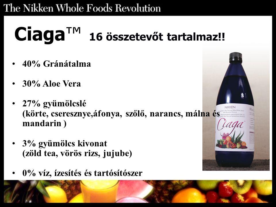 Ciaga™ 16 összetevőt tartalmaz!! 40% Gránátalma 30% Aloe Vera 27% gyümölcslé (körte, cseresznye,áfonya, szőlő, narancs, málna és mandarin ) 3% gyümölc