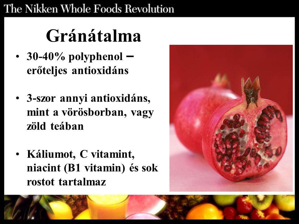Gránátalma 30-40% polyphenol – erőteljes antioxidáns 3-szor annyi antioxidáns, mint a vörösborban, vagy zöld teában Káliumot, C vitamint, niacint (B1