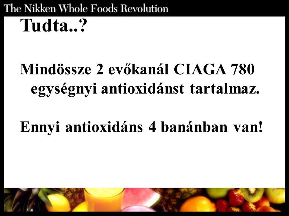 Tudta..? Mindössze 2 evőkanál CIAGA 780 egységnyi antioxidánst tartalmaz. Ennyi antioxidáns 4 banánban van!