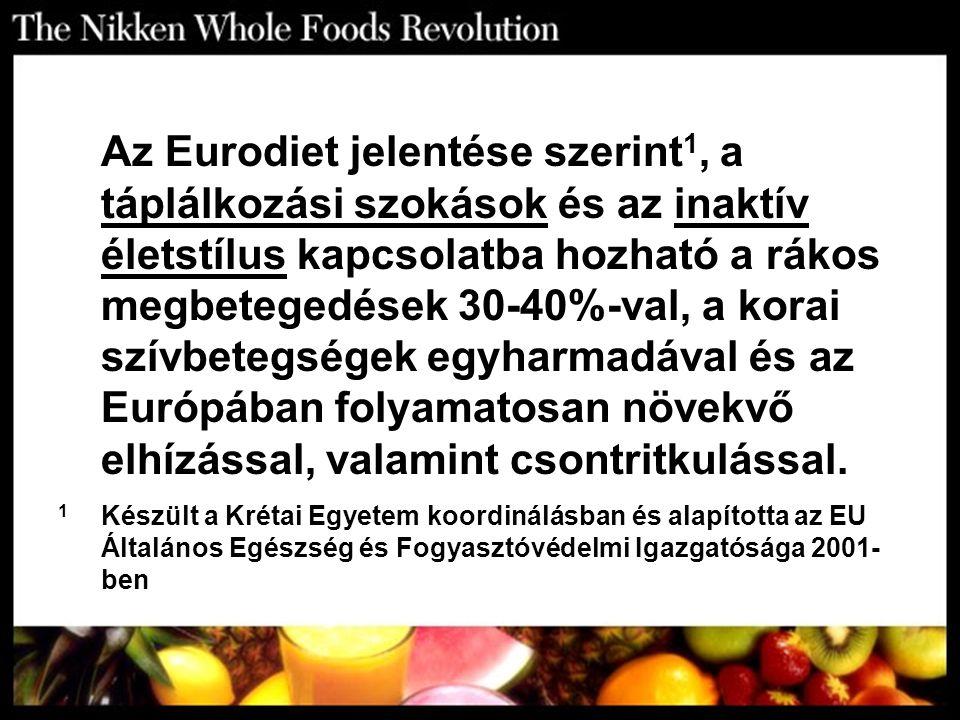 Az Eurodiet jelentése szerint 1, a táplálkozási szokások és az inaktív életstílus kapcsolatba hozható a rákos megbetegedések 30-40%-val, a korai szívb