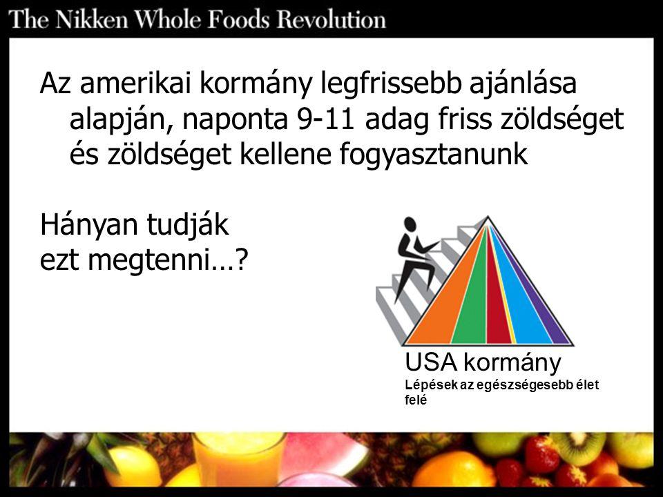 Az amerikai kormány legfrissebb ajánlása alapján, naponta 9-11 adag friss zöldséget és zöldséget kellene fogyasztanunk Hányan tudják ezt megtenni…? US
