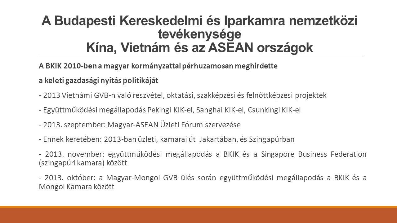 A Budapesti Kereskedelmi és Iparkamra nemzetközi tevékenysége Kína, Vietnám és az ASEAN országok A BKIK 2010-ben a magyar kormányzattal párhuzamosan meghirdette a keleti gazdasági nyitás politikáját - 2013 Vietnámi GVB-n való részvétel, oktatási, szakképzési és felnőttképzési projektek - Együttműködési megállapodás Pekingi KIK-el, Sanghai KIK-el, Csunkingi KIK-el - 2013.