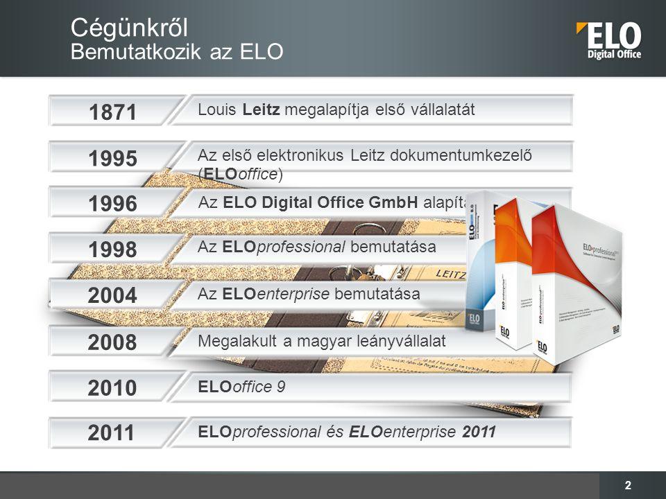 2 Cégünkről Bemutatkozik az ELO Az ELOenterprise bemutatása 2004 Az ELOprofessional bemutatása 1998 Az ELO Digital Office GmbH alapítása 1996 Az első