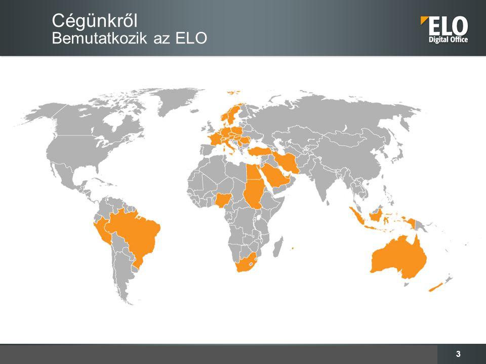 4 Cégünkről Számok, adatok, tények  280 munkatárs  400 Partner világszerte  500.000 produktív, használatban lévő licensz  5.000 megvalósított projekt (ELOprofessional, ELOenterprise)  Folyamatos és jelentős fejlődés, növekedés  Értékesített licencek Magyarországon: 4934 írási joggal rendelkező licenc és hozzávetőleg 2300 olvasói licenc  Átlag felhasználó szám ügyfelenként: 115  Értékesítő Partnereink száma Magyarországon: 15