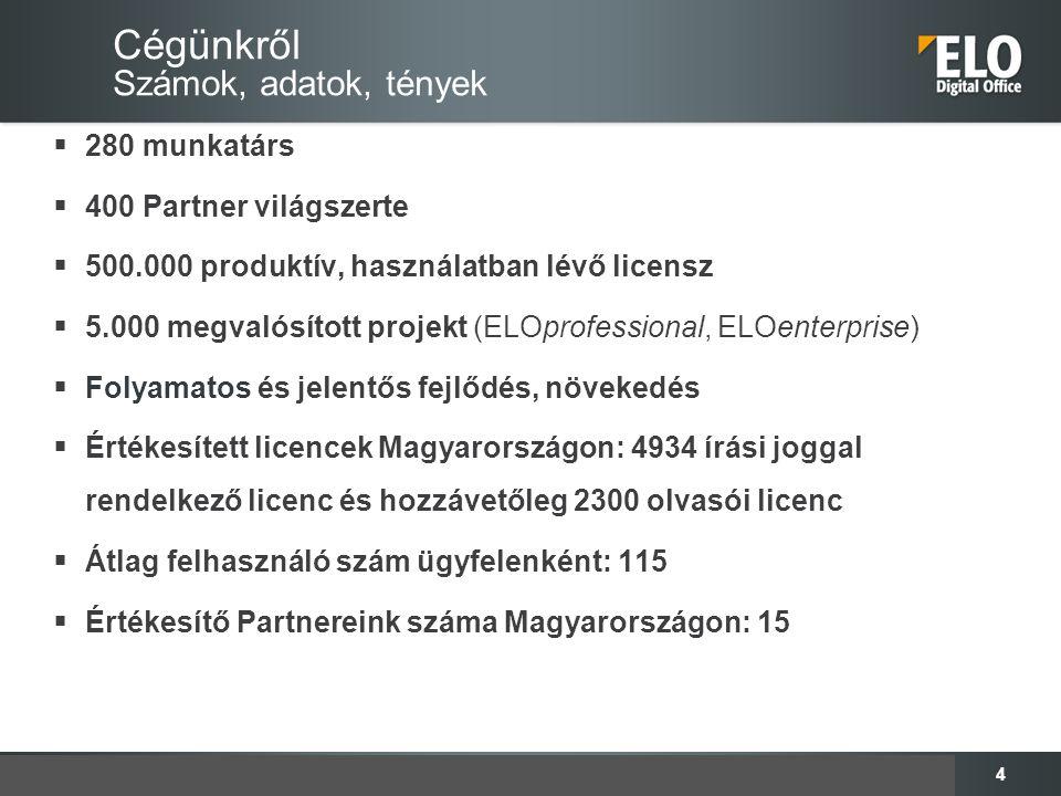 4 Cégünkről Számok, adatok, tények  280 munkatárs  400 Partner világszerte  500.000 produktív, használatban lévő licensz  5.000 megvalósított proj