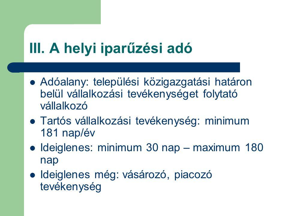 III. A helyi iparűzési adó Adóalany: települési közigazgatási határon belül vállalkozási tevékenységet folytató vállalkozó Tartós vállalkozási tevéken